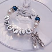 Ballet Shoes Personalised Wine Glass Charm - Elegance Style
